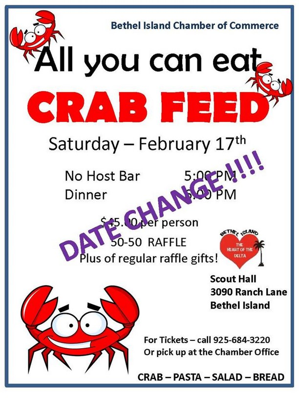 Bethel Island Chamber All You Can Eat Crab Feed, February 17