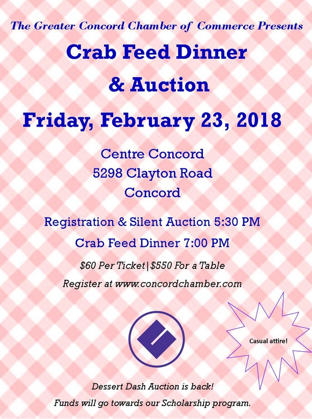 Concord Chamber Crab Feed Dinner & Auction, February 23