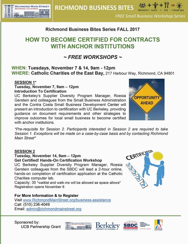 Free Workshops: Get Certified to Contract with Anchor Institutions, November 7 & 14