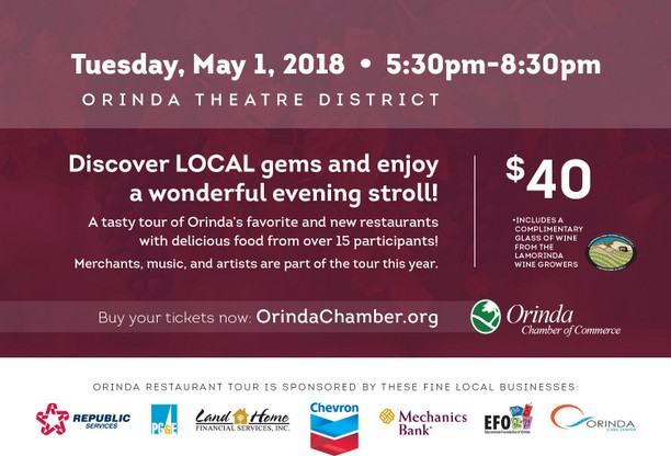 Orinda Restaurant Tour, May 1